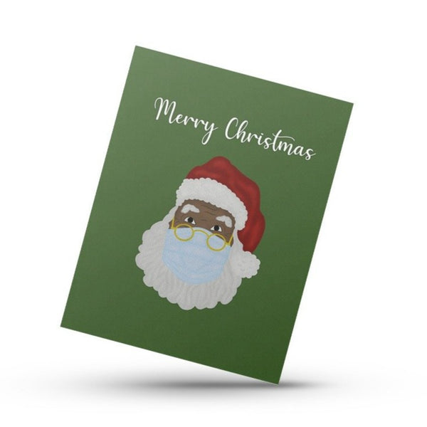 "Black Santa ""Mask-On"" Greeting Card"