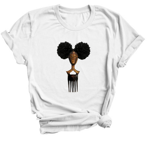 Afro pick mask t-shirt - Afropuff