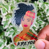 Kreyol Woman clear sticker