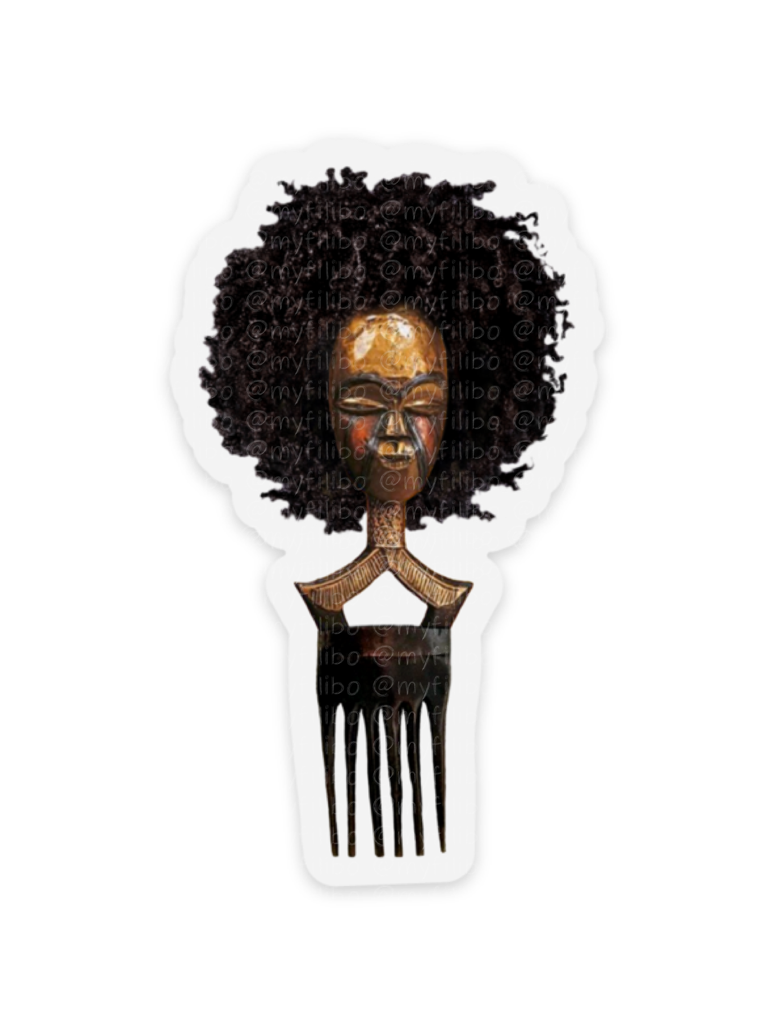Afro pick mask sticker | Afro