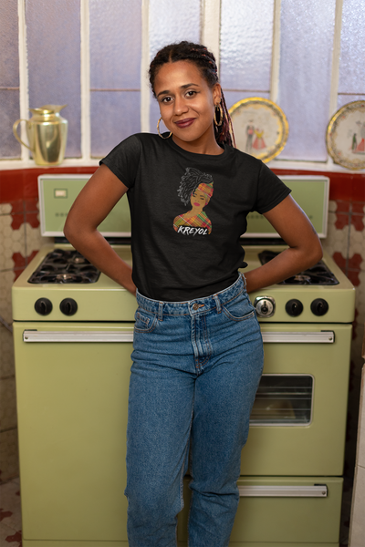 Kreyol woman t-shirt | madras print | headwrap | natural hair