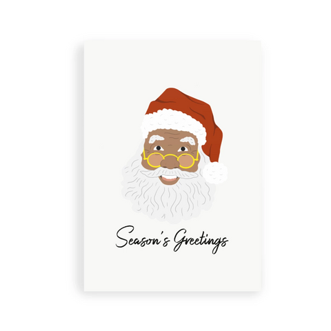 "Black Santa ""Season's greetings"" greeting card 