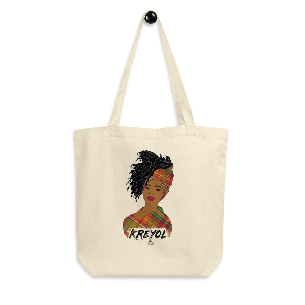 Kreyol woman tote bag - madras | Kreyol Queen | Natural Hair