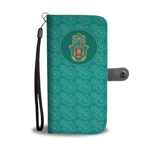 Wallet Phone Case -  Hamsa Protections (Green)
