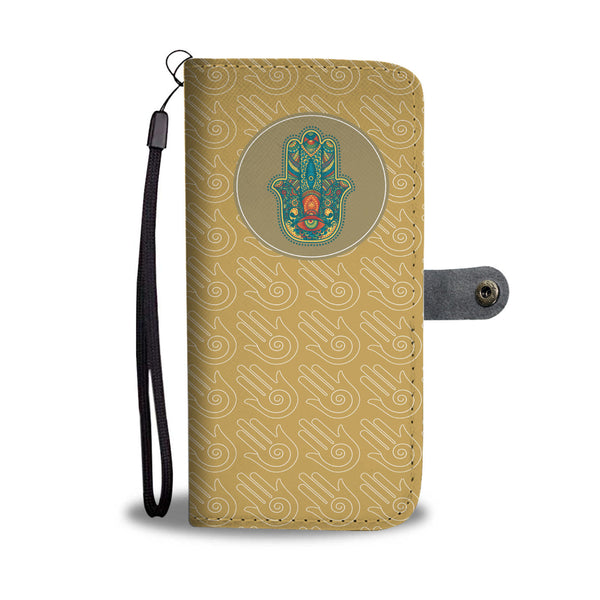 Wallet Phone Case -  Hamsa Protections (Yellow)