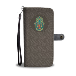 Wallet Phone Case -  Hamsa Protections (Brown)