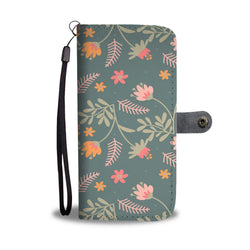 Floral Wallet Phone Case - Good Green