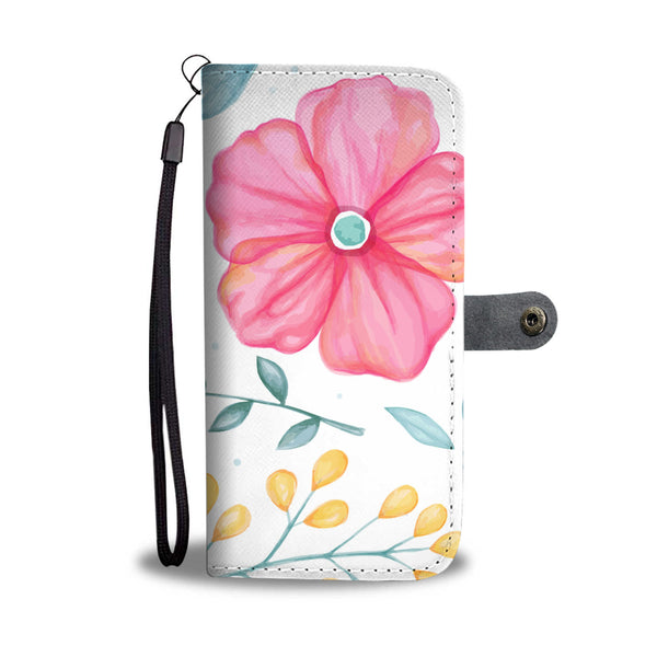 Floral Wallet Phone Case - Red Hibiscus