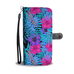 Floral Wallet Phone Case - Hibiscus Forrest