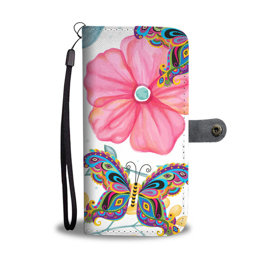 Butterfly Wallet Phone Case - Hibiscus