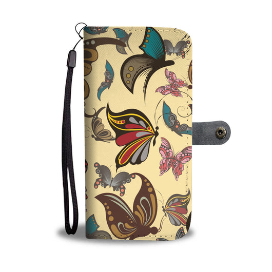 Butterfly Wallet Phone Case - Yellow