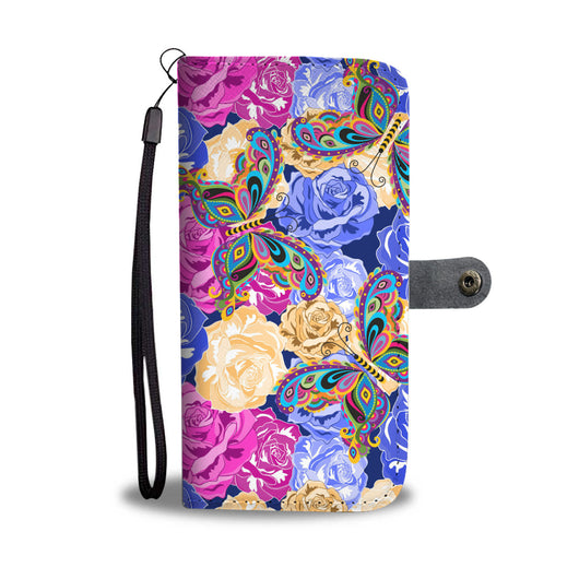 Butterfly Wallet Phone Case - Roses