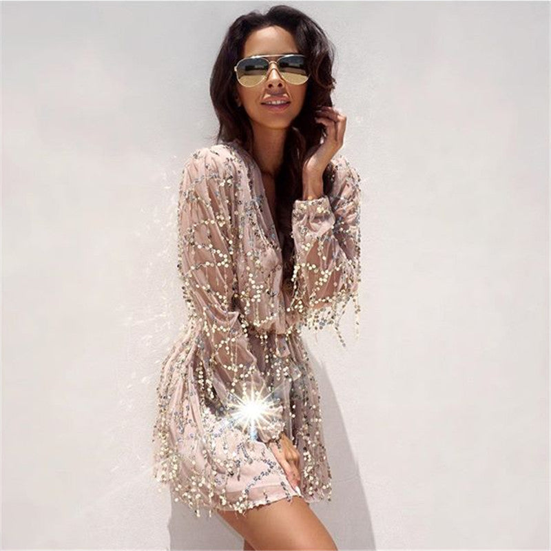 2016 Spring Summer Lace Embroidery Sequined Dress Lady Black White Gold Dress Sexy Deep V Neck Long Sleeve Party Dress Women