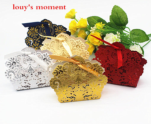 Whole Sale 100 X Wedding Candy Box Gold/Red/White Laser Cut Wedding Favor Boxes Casamento Wedding Favors Gifts - www.Kashamasha.com