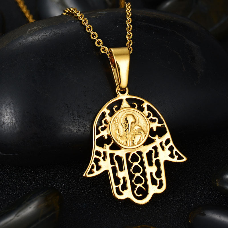 Trendy Stainless Steel Hamsa Hand Pendant Necklace Never Fade Gold Color Hand of Fatima Necklaces Bff Bridesmaid Gift - www.Kashamasha.com
