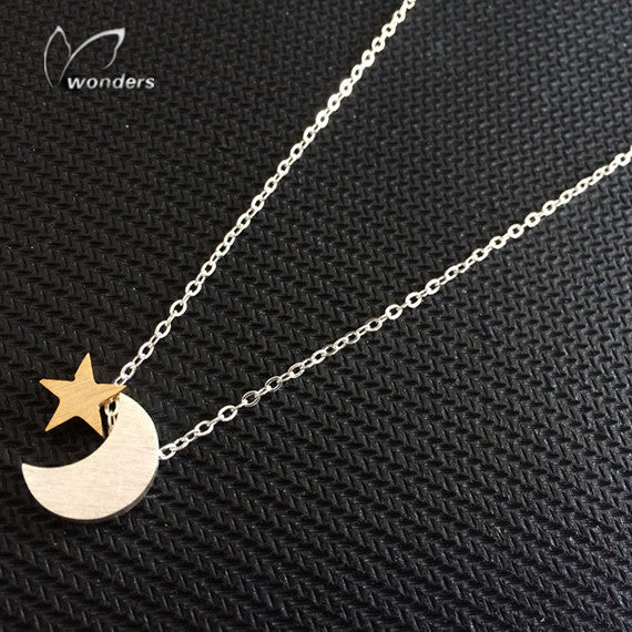 Women's Fashion Muslim Crescent Pendant Necklace Stainless Steel Gold Silver Color Islam Moon Star Jewelry Bridesmaid Gifts 2017 - www.Kashamasha.com