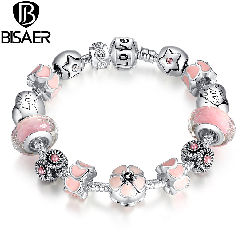 Silver Charm Bracelet Flower Heart Love Clasp High Quality Pink Murano Beads Fit Original Bracelet Jewelry Gift For Women GO1872 - www.Kashamasha.com