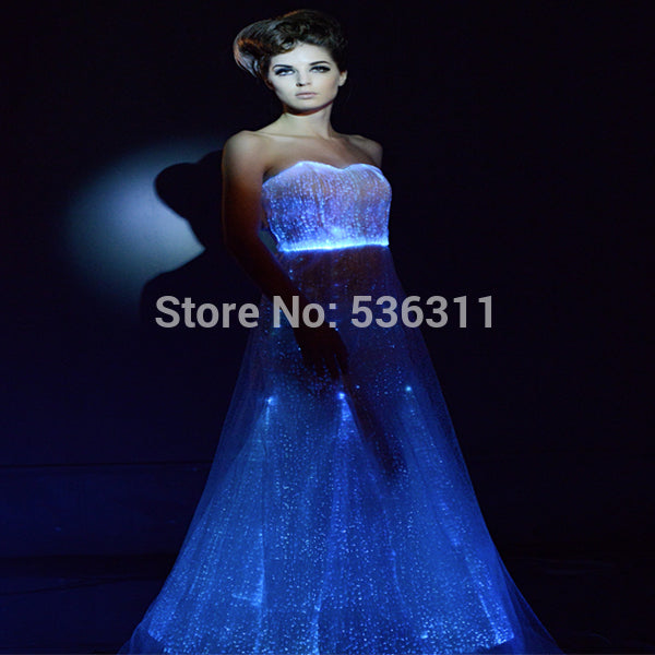 2017 A line floor length pure white fiber optical luminous dress sexy costumes led vestidos wedding party dress