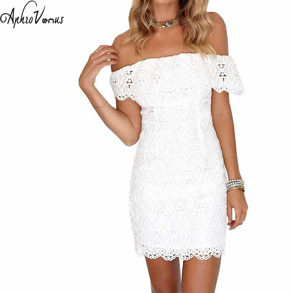 Lady Summer Off The Shoulder Lace Dress Sexy Elegant Ruffles Party Dresses Vestidos Robes Slash Neck Open Back Mini Women Dress