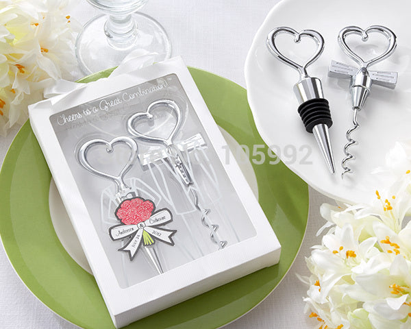 Wedding Favors Gifts Born of a couple Wine opener Personalized Cheers to a Great Combination Corkscrew and Stopper Sets 100box - www.Kashamasha.com
