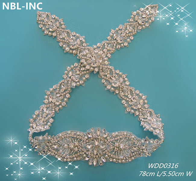 (30pcs) Wholesale handmade beaded sewing bridal sash iron on rhinestone appliques for wedding dresses belt  WDD0316