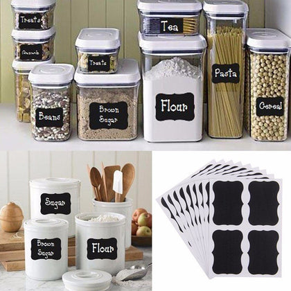 72 Pack Vinyl  Organizing Chalkboard Label Stickers