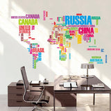 Typography World Map Wall Stickers (Colorful and Black Options)