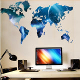 Outer Space World Map Wall Sticker