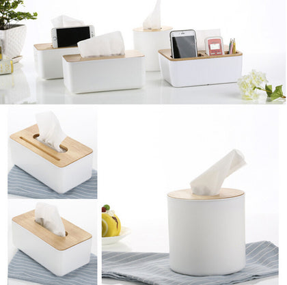 White and Oak Space Saving Tissue Dispensers
