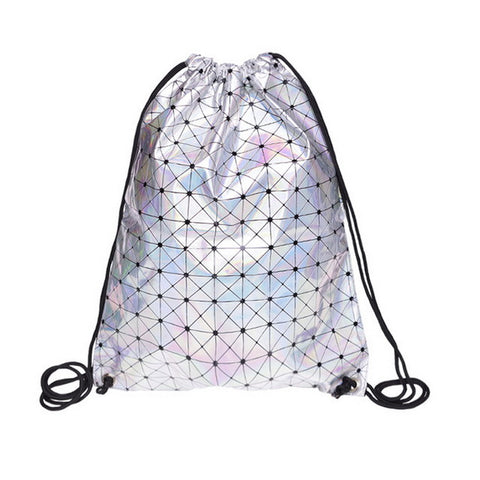 Tri-holographic Drawstring Bag