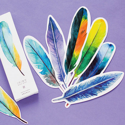 30 Pack Watercolor Feather Bookmarks