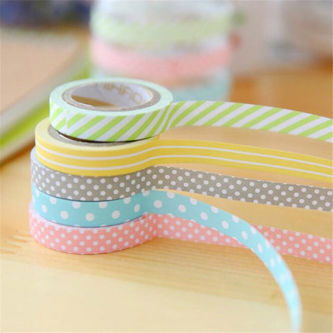 5 Pack Candy Color Washi Tapes