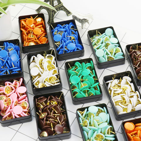 50 Pack Colored Top Metal Thumbtacks
