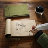 Vintage Style Quill Pen with Felt Notepad and Ink