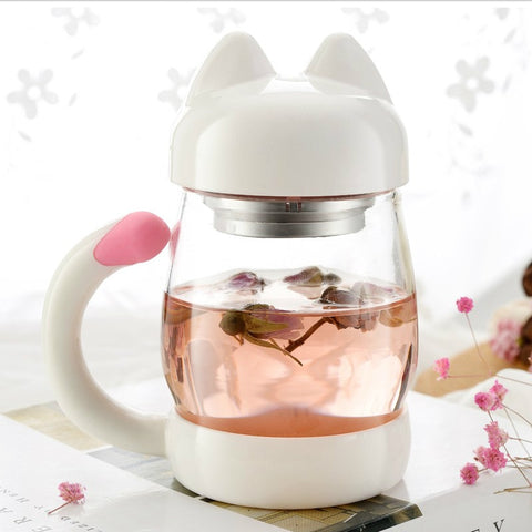 Cat Shaped Cup with Filter for Tea Infusion