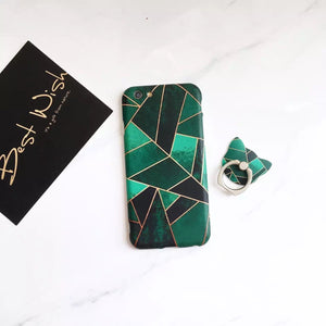Light & Dark Green - Case with Ring - كفر مع مسكة خاتم