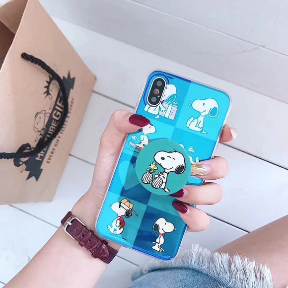 Blue Shiny Snoopy Case with POP Grip - كفر مع مسكة دائرية