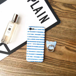 Light Blue Stripes - Case with Ring - كفر مع مسكة خاتم