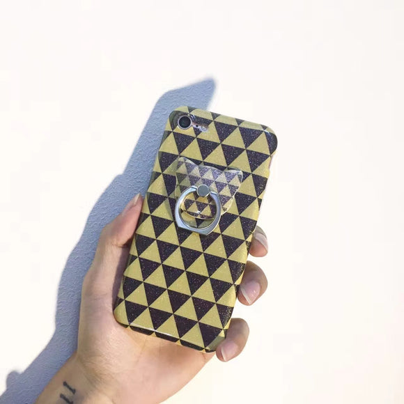 Yellow Black Triangle - Case With Ring - كفر مع مسكة خاتم