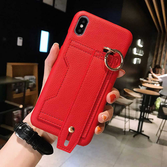 Red Leather Case with Card and Strap - كفر مع مسكة ومحفظة