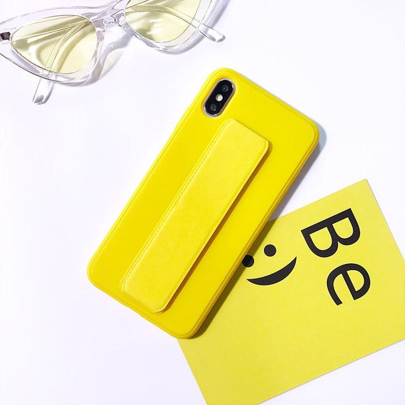 Yellow Plain Case with Wrist Strap - كفر مع مسكة