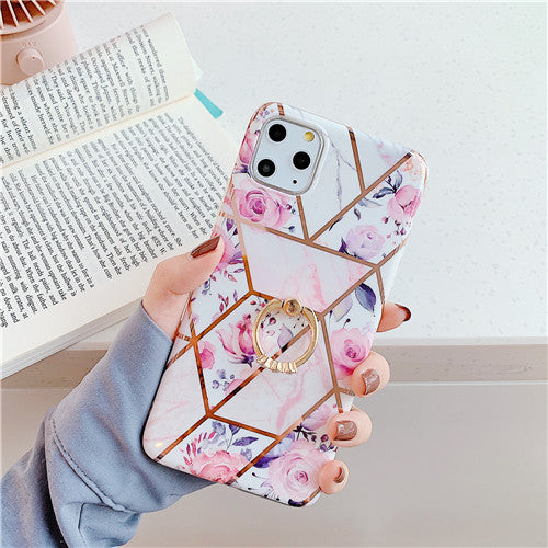 White and Pink Marble Case with Flowers with Ring