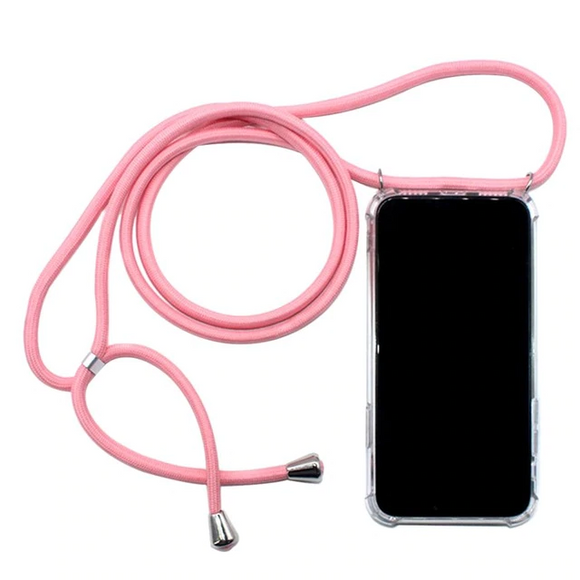 Clear Case with Lanyard - Pink