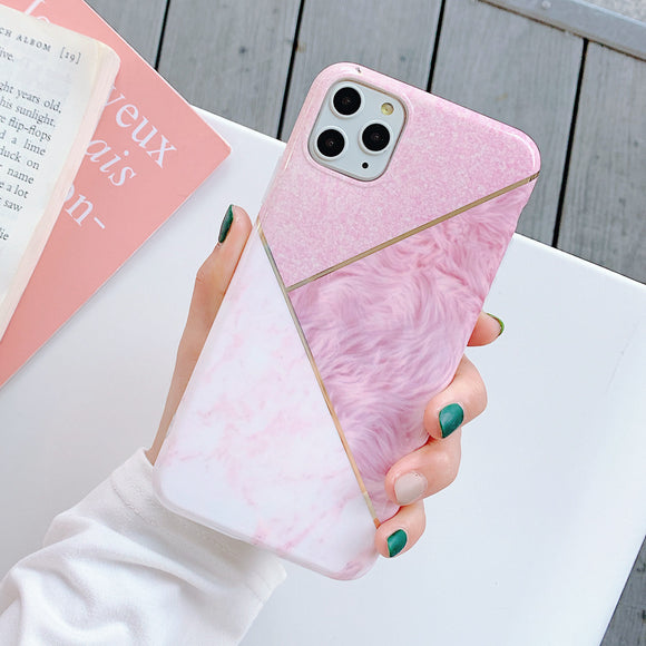 Pink Marble Case with Geometric White Splicing