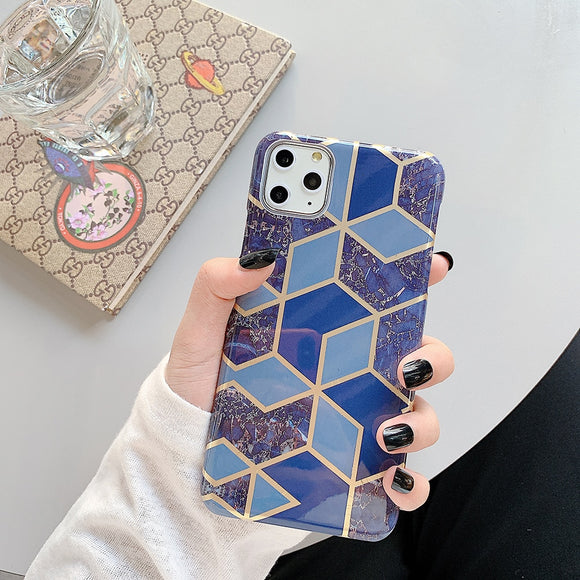 Dark Blue and Geometric Marble Case