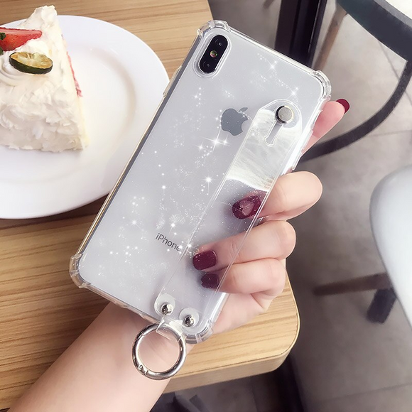 Clear Transparent Case with Strap - كفر مع مسكة شريطة