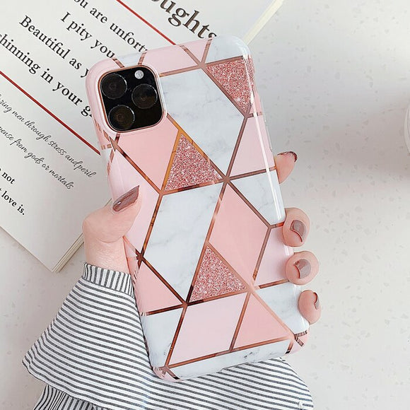 Shiny Marble Geometric Pink Case