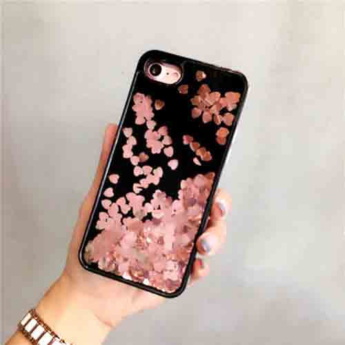 Black and Pink Dynamic Heart Glitter Liquid Case