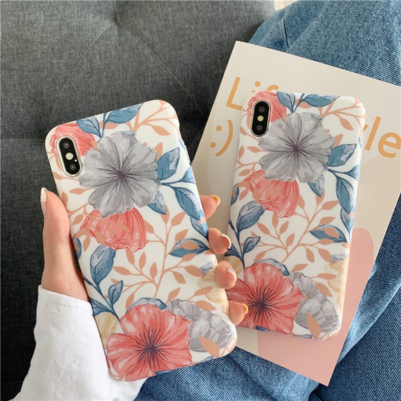 Blue and Orange Floral Flower Case