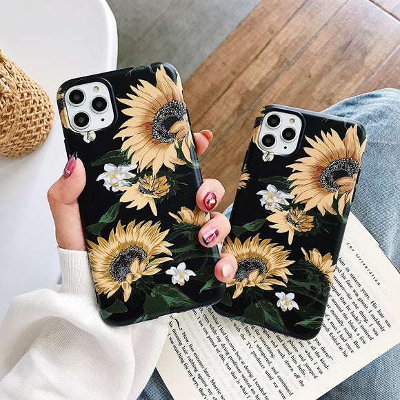Black with Yellow Sunflower Case